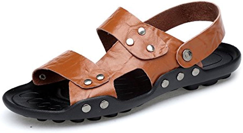 Sunny&Baby Zapatillas de Playa de Cuero Genuino de los Hombres Zapatillas Antideslizantes Sandalias de Suela Resistente...