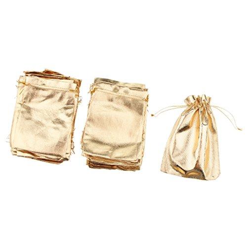 Sharplace 100pcs Glitter Kordelzug Geschenkbeutel Jewerly Bonbonbeutel Hochzeit Zugunsten Gold