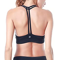 Queenie Ke Women's Light Support Cross Back Wirefree Pad Yoga Sports Bra Size M Color Black