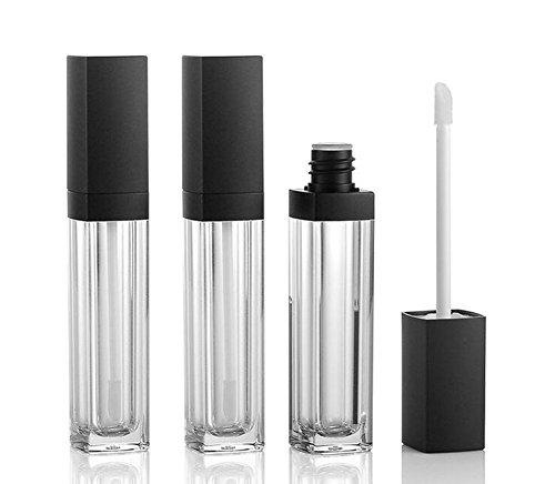 3pcs 10ml vacío cuadrado brillo de labios tubo plástico transparente Barra de labios bálsamo de labios botella recipiente con lipbrush negro funda para viajar y uso doméstico
