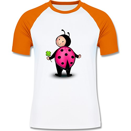 Shirtracer Karneval & Fasching - Marienkäfer - Herren Baseball Shirt Weiß/Orange