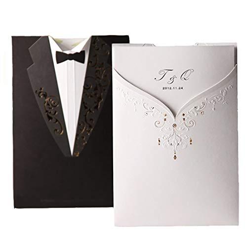 Blank Schwarz Weiß Acryl Hochzeitseinladungen Karte Bräutigam und Braut Einladung Ehe mit Umschlägen ()