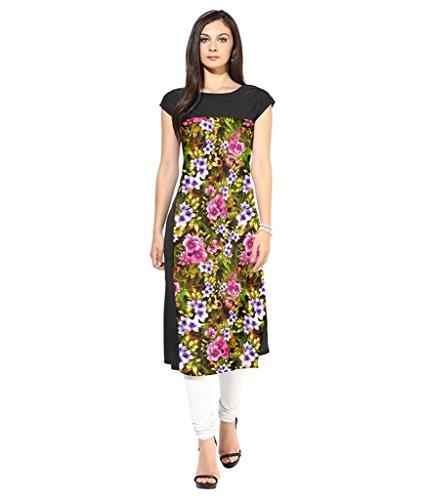 Velentino Trend Women Multicolor Floral Printed Crepe Kurtis VAT115 Small