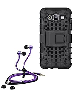 Hard Dual Tough Military Grade Defender Series Bumper back case with Flip Kick Stand for Samsung G355 + Stylish zipper hand free for all smart phones by Carla Store