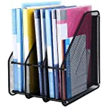 JD9 Metal Mesh 3 Compartments File Rack Paper Holder Desktop File Holders Organizers Document Cabinet Rack Display and Storage Organizer Box for Documents, Magazines, Note (Black)