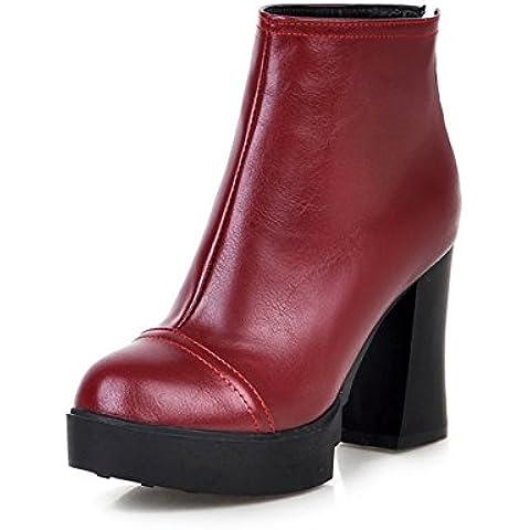 round-finito impermeabile Stivali donna/Spessore elegante con tacchi alti breve stivali/ zipper pelle nuda (Finito Giardino)