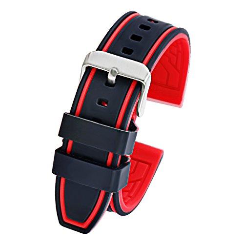 Mens 20mm schwarz rot Silikon Gummi Ersatz Uhrenarmband Sport Diver Uhrenarmband Ersatz wasserdicht weich - Silikon Invicta Bands Watch