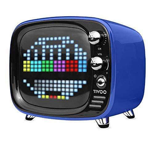 CE-LXYYD Divoom Tivoo Pixel Bluetooth-Lautsprecher, tragbarer drahtloser 6-W-Stereo-Boom-Basslautsprecher für den Innen- und Außenbereich, 8-stündige Spielzeit mit 3000-mah-Powerbank, langlebig,Blue (Beleuchtung Dj-stereo-system-mit)