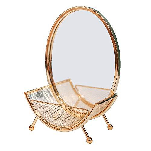 Wuchenmin Espejo de Maquillaje con Bandeja de Almacenamiento, aleación, Redondo, Exquisito, decoración...