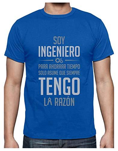 Camiseta para Hombre - Soy Ingeniero Solo Asume Que Siempre Tengo la Razón - Regalo Original para Ingenieros Small Azul