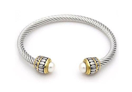 Prinzessin zu Stolberg Beauty Serie - Twisted Edelstahl Armreif für Damen in Silber mit Perlen