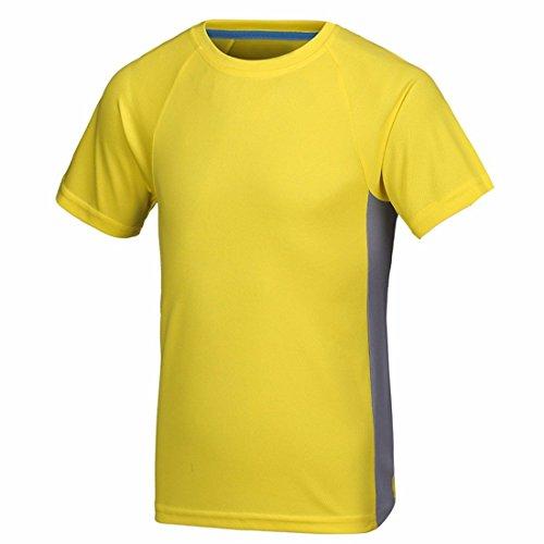 QIYUN.Z Männer Sommer Schnell Trocknend Outdoor-Sport Kurzarmhemden Turnhalle Laufen T-Shirt Gelb