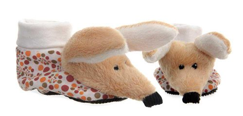 Egmont Toys Slippers, Babyhausschuhe, Baby-Stoffschuhe, Motiv: Katze, Größe: 3-9 Monaten weiß, rot/Augustin