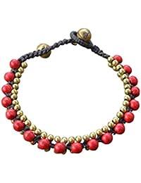 Ploy! Jewellery Armband Messing Koralle Hippie Rot, Gewachste Baumwolle Gypsy BB8, Handgefertigt