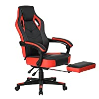 Fanilife Computer Chair Gamer Racing Relax Adjustable Inclinable Footrest Synthetic PU Leather Mesh Plastic Red Black
