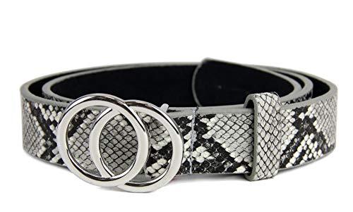 irisaa Schmaler Damen Gürtel mit runder Metallschnalle zwei Ringen, 2,8 cm breit und 0,4 cm stark, Länge:90, Farbe:LightSnake mit Silberring