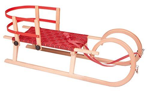 Schlitten 2 Personen Rodel a Holz Holzrodel 110 cm Zugband + Rückenlehne