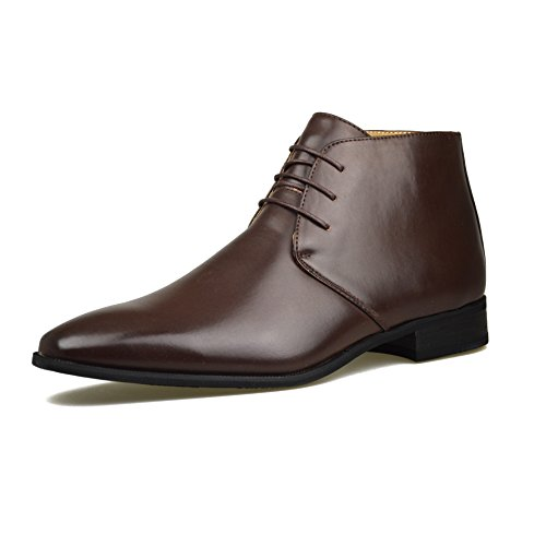 715c1313f04 Mens Brown Leather Smart Formal Casual Lace Up Boots Shoes UK SIZE 6 7 8 9  10 11 (UK 10 EU 44, Brown)
