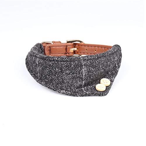 HCHD Niedliches Hundehalsband Aus Leder Mit Hundeleine, Kariertes Hundekopftuch Verstellbar (Color : Gray Bandanas, Size : M) (Und-kragen-kariertes Hundeleine)