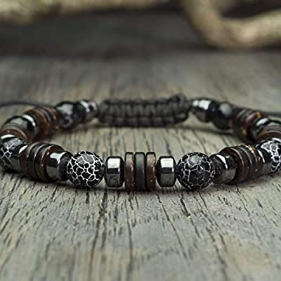 Bracelet Homme Taille 19-20cm Style Shambala Ø 8mm pierre naturelle Agate Toile d'araignée Hématite style Tibétain Made in France BRADIK-18