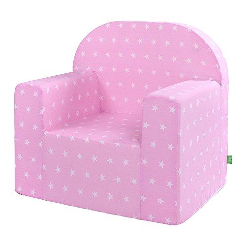 LULANDO Classic Kindersessel Babysessel Kindercouch Mini Sessel Kindermöbel für Spielzimmer und Kinderzimmer. Farbe: White Stars / Pink