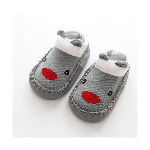 Happy Cherry 3Pcs Calcetines Prewalker para Recien Nacido Antideslizante Zapatillas de Piso Estampado Dibujo Animado… 5