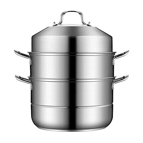 LWH Edelstahl 3-Tier Food Steamer Pan/Suppentopf, Dampftopf zum Kochen Aller Arten von Öfen, 30cm