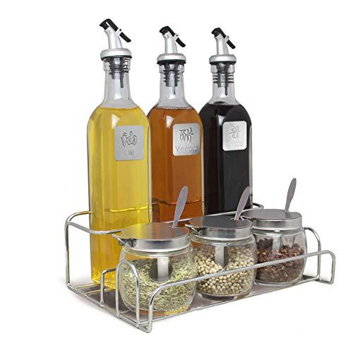 BAIJ Gewürzregal Veranstalter, Mit 6 Flaschen Gewürzdosen, Ideal Für Schrank, Küche, Esszimmer -
