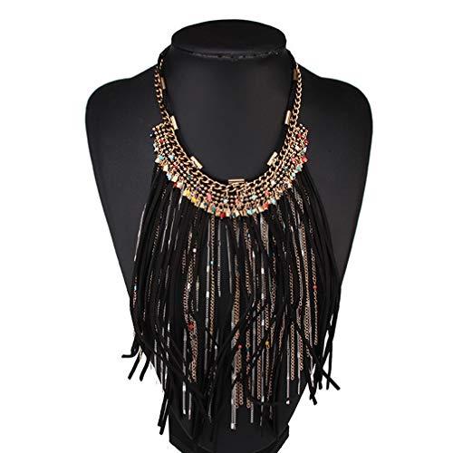 Ssowun Halskette Indianer, Bohemian Halskette Quaste Retro Halskette Schmuck Legierung Anhänger Halskette Feder für Frauen Festival Karneval EINWEG verpackung