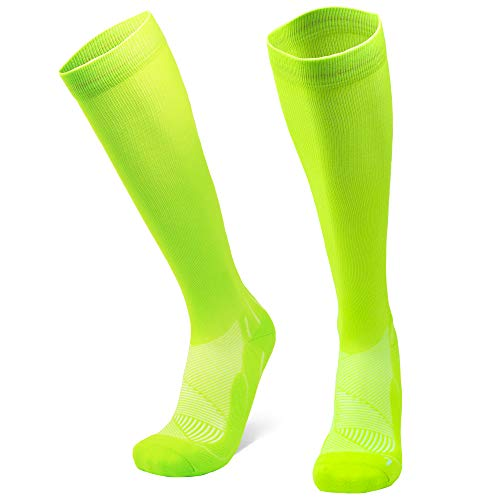 DANISH ENDURANCE Graduated Compression Socks 1 Pack, for Women, Men, Shin Splints, Nurse, Flights (Neon yellow, EU 35-38 // UK 3