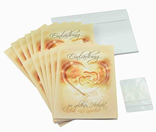 Goldene Hochzeit Einladungskarten im Set. Goldhochzeit feiern und zu 50 Jahre Ehe einladen - mit 12 x Karten zur Einladung, 12 Briefumschläge weiß und je 12 Fotoecken zum Foto einstecken (12 Stück, Einladungskarten)