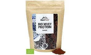ALPENPOWER | BIO WHEY Protein Kakao | Ohne Zusatzstoffe | 100% natürliche Zutaten | 7 Sorten | Bio-Milch aus Bayern und Österreich | Superfood Kakao | Hochwertiges Eiweiß | Low Carb | Organic Whey | 500 g