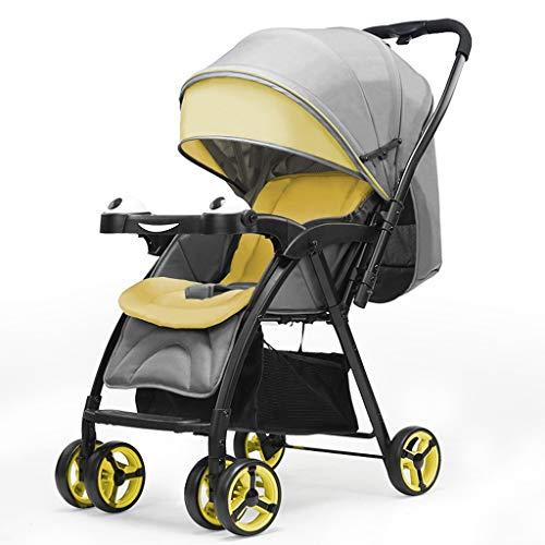 BLWX - Bébé Poussette bidirectionnelle Choc bébé lumière Peut s'allonger Peut s'asseoir Poussette Pliant Trolley pour Enfants Poussette (Couleur : Le Jaune)