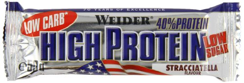 Weider Low Carb High Protein Bar, Stracciatella, 24 x 50 g (1 x 1.25 kg) (Power Bar Flüssig)
