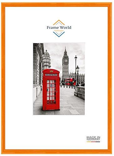 Frame World FW23 Echtholz Bilderrahmen DIN A4 für 21 cm x 29,7 cm Bilder, Farbe: Orange Hochglanz, inkl. entspiegeltem Acrylglas (Antireflex), Rahmen Breite: 23 mm, Aussenmaß: 24,4 cm x 33,1 cm