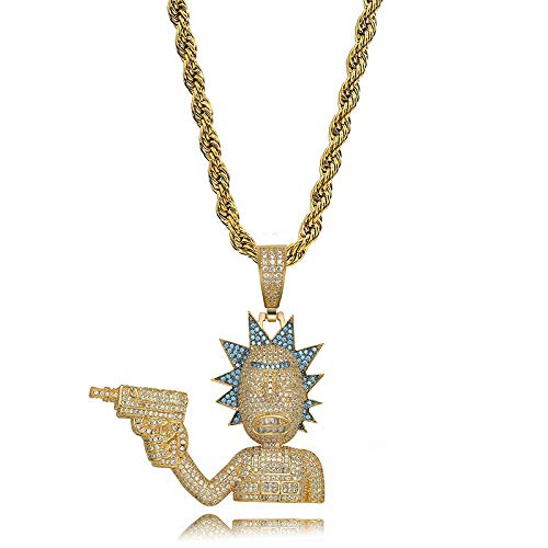 MKHDD Herren Hip Hop Punk Iced Out Kette Explosion Kopf Cartoon Charakter Take Gun Bösewicht Anhänger Halskette Persönlichkeit Zirkon Schmuck Geschenk,Gold