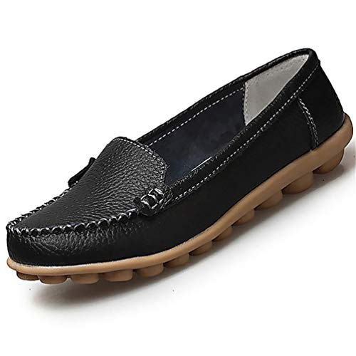 JRenok Frauen-Echtes Leder-Müßiggänger-Schuh-Ebene-Fester Beleg auf Boot Chaussure für Femme