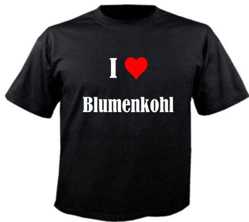 T-Shirt I Love Blumenkohl Größe XL Farbe Schwarz Druck Weiss