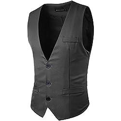 JOLIME Elegante Chalecos Hombre Vestir Casual Negocio Boda Slim Fit Traje Blazers Sin Mangas