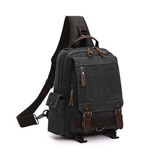 Wind Took Canvas Sling Rucksack Crossbody bag Brusttasche Outdoor Daypack Vintage Schultertasche Unisex Umhängetasche für Herren Damen,Schwarz -