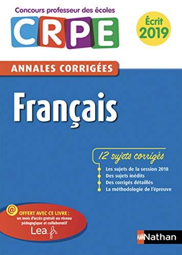 Annales CRPE Français - Ecrit 2019