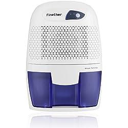 Finether-Mini Deshumidificador de Aire Partátil(500ml,Secadora para Casa,Dormitorio,Cocina,Garaje y más),Blanco