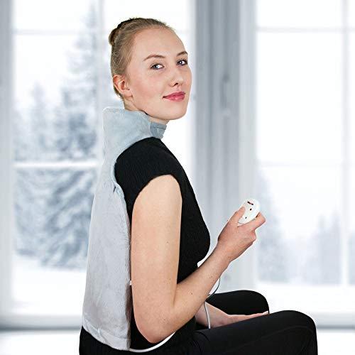 Grafner® Nacken- unnd Rückenwärmer | 45 Watt | ca. 40x50 cm | kuschelweiches Teddyfleece | 2 Temperaturstufen | optimale Hilfe bei Verspannung und Schmerzen | Nacken Rücken Heizkissen