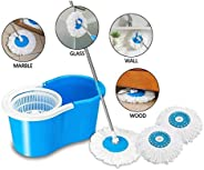 Dewberries Spin Bucket Mop with 2 Refills- Super Absorbent Refills for All Type of Floors, 360 Degree Spin Buc