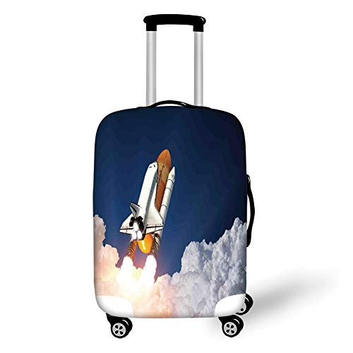 Travel Luggage Cover Suitcase Protector,Outer Space Decor,Space Rocket Lifting Through The Clouds Blast Explore The Galaxy ISS Photo,White Blue Orange,for Travel -