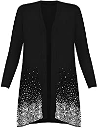 Ladies Womens Floral Lace Inserted Plain Water Fall Long Cardigan Dress Top 8-14