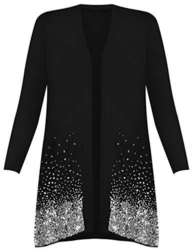 Islander Fashions - Cardigan � Grande Taille et � Manches Longues et � Paillettes pour Femmes Noir EU 56-58