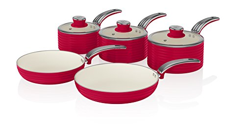 Swan Retro 5-Piece Pan Set with Ceramic Ivory Non-Stick Coating, Red