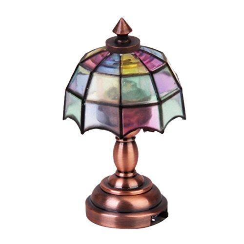 Bronze Metall 1:12 Puppenhause Miniatur LED Schreibtischleuchte Modell mit Multicolor Regenschirm Form Lampenschirm -