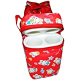 Chinmay Kids Multi Purpose Baby Diaper Mother Bag With 2 Bottle Holders - Keep Baby Bottles Warm - Assorted Prints (Red)